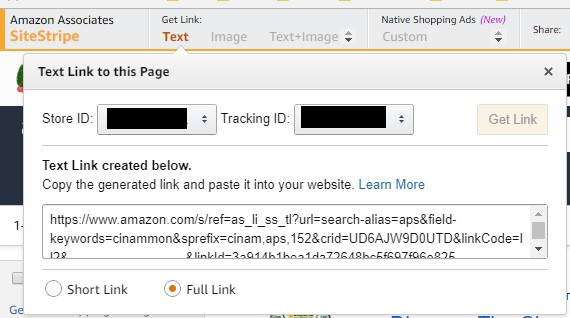 Screenshot of Amazon Sitestrip generating a URL to paste on a website