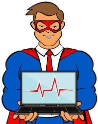 Superhero illustration holding a laptop with image of a heartbeat.