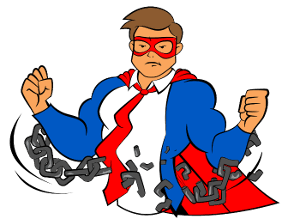 The Blog Fixer mascot breaking free from chains