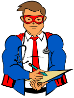 Illustration of a superhero with a clipboard and pencil.