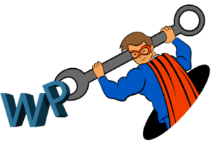 The Blog Fixer mascot fixing the letters WP with a wrench