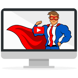 The Blog Fixer mascot flexing on a computer screen