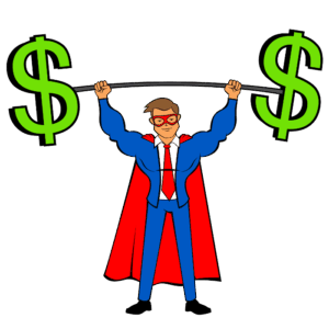 The Blog Fixer mascot holding a barbell with dollar signs at both ends