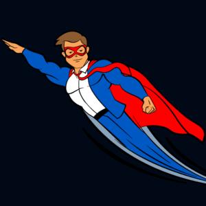 The Blog Fixer mascot flying