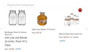 Mason jars, apple juice, and glass vases in an Amazon carousel.