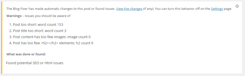 Example warning from Live Fix